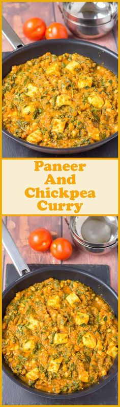 Vegetarian paneer and chickpea curry