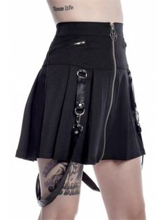Killstar Blaire B*tch Mini Skirt Super cute pleated mini skirt from Killstar! The Blaire B*tch skirt features gorgeous detachable faux leather strap detailing, as well as a front fastening zip with aweso. Emo Fashion, Gothic Fashion, Skirt Fashion, Fashion Outfits, Fashion Hacks, Dark Fashion, School Fashion, Female Fashion, Steampunk Fashion
