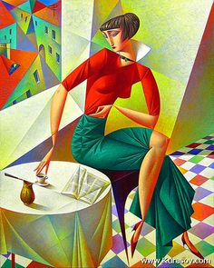 Cubist artist Georgy Kurasov was born in 1958 in the USSR, in what was then Leningrad, now the country is Russia and the city is called St Petersburg. Art And Illustration, Cubist Artists, Cubism Art, Inspiration Art, Fine Art, Coffee Art, Coffee Shop, Oeuvre D'art, Female Art