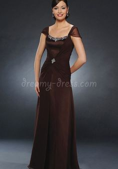 Chic Chiffon A-Line Square Natural Waist Mother of the Bride Dress with Beading - Dreamy-dress.com