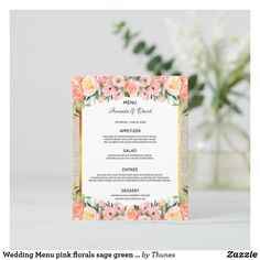 Shop Wedding Menu pink florals sage green gold elegant created by Thunes. Wedding Menu Cards, Wedding Table Settings, Green And Gold, Blue Gold, Rose Gold Backgrounds, Vintage Logo Design, Rose Gold Pink, Unique Business Cards, Dusty Blue