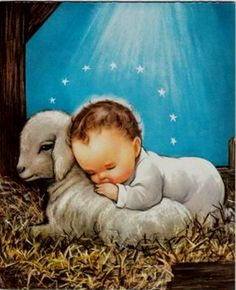 This is one of favorite childhood Christmas pictures! Vintage Baby Jesus Laying on A Lamb Under Holy Starlight Christmas Greeting Card Christmas Scenes, Christmas Nativity, Christmas Past, Christmas Holidays, Vintage Christmas Images, Vintage Holiday, Christmas Pictures, Vintage Greeting Cards, Christmas Greeting Cards
