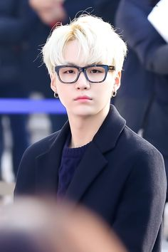 BTS - Suga with glasses, blonde hair & wearing all black omg