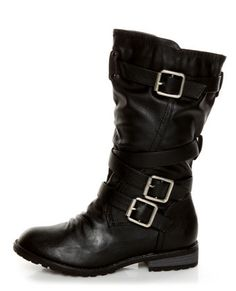 Black Slouchy Belted Combat Boots