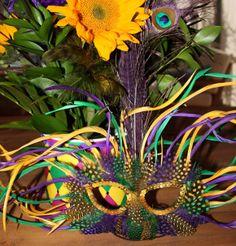 Mardi Gras inspired centerpiece