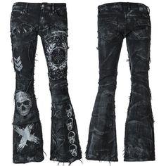 WSCP-258 Black Denim Pants - Salvaged Denim Patchwork MTO