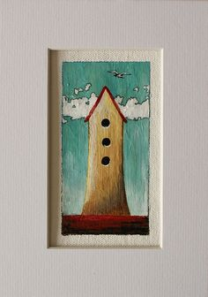 Original painting by Marie Claprood    Title: Tiny #6  Medium: Acrylic, pencils and ink on an unstretched canvas  Size of the artwork: 5 x 10 cm