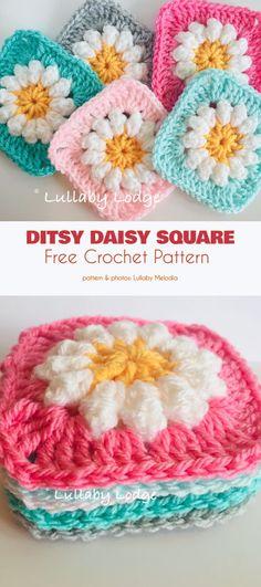 Newest No Cost granny square ganchillo Ideas Ditsy Daisy Granny Square Free Crochet Pattern Granny Square Pattern Free, Granny Square Häkelanleitung, Granny Squares, Square Blanket, Crochet Granny Square Beginner, Granny Granny, Afghan Crochet Patterns, Crochet Motif, Free Crochet
