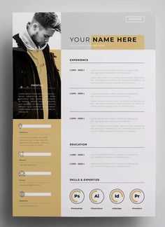 Lebenslauf Design-Vorlagen AI EPS - My best design list Cv Design Template, Resume Design Template, Resume Templates, Graphic Design Templates, Resume Layout, Resume Cv, Portfolio Resume, Portfolio Design, Portfolio Ideas