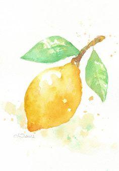 Fruit, fruit print, art, watercolor, watercolor painting, watercolor art print, Yellow Lemon ---- original watercolor painting giclee print. $18.00, via Etsy.