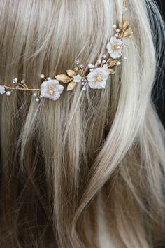 Bespoke for Samantha_gold Poetic bridal headpiece with scattered flowers and pearls 5