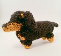 Are you the proud owner of a Dachshund? If so, show your pride with this mini pooch! Standing at about 3.5 inches tall and 7 inches long (nose to tail), this little guy is the perfect companion for your desk at work (and who wouldnt want some company during the work day?) or your nightstand at home. This little pup will, without a doubt, be the perfect addition to any Dachshund collection!   (Based off of patterns by June Gilbank)