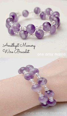 Amethyst Memory Wire Bracelet. handmade Amethyst Crystal, craft idea, handmade jewelry