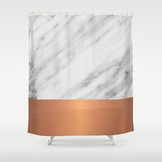Carrara Italian Marble Holiday Rose Gold Edition Shower Curtain by cafelab - $68.00