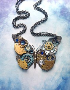 ~~Steampunk Butterfly Necklace ~ Silver Butterfly by bionicunicorn~~