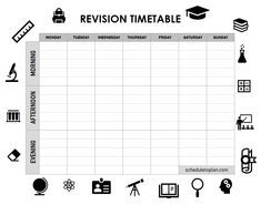 Study Plan Template, Class Schedule Template, Planner Template, Revision Timetable Template, Class Timetable, Daily Planner Pages, Study Planner, Study Schedule, Life Hacks For School