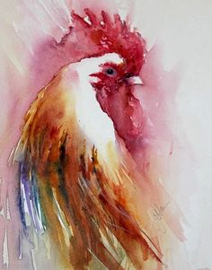 Dogs in Art at the StockBridge Gallery -    Morning Best -  A Cockerel Study in Watercolour by Jean Haines, £565.00 (http://www.dogsinart.com/morning-best-a-cockerel-study-in-watercolour-by-jean-haines/)