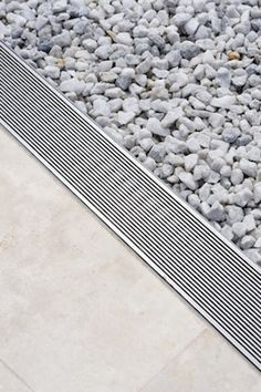 Linear Shower Drain and Trench Drain Systems Architecture Details, Landscape Architecture, Interior Architecture, Landscape Design, Landscape Materials, Modern Landscaping, Landscaping Tips, Trench Drain Systems, Landscape Drainage