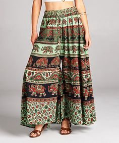 Another great find on #zulily! Green Geometric Palazzo Pants #zulilyfinds