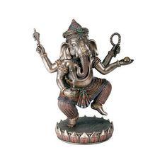 Ganesha Balancing on Lotus Figurine - Cold Cast Resin - 8.5 Height
