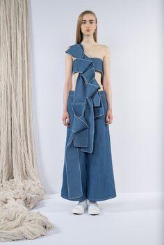 Denim Trapunto Stitch Knot Bandeau, Denim Wide-Leg Culotte