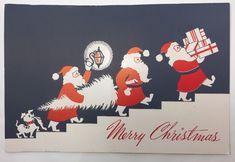 VTG Greeting Card Christmas Mid-Century White & Wyckoff 3 Santas | eBay