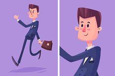Vector cartoon business man by Krol on Creative Market