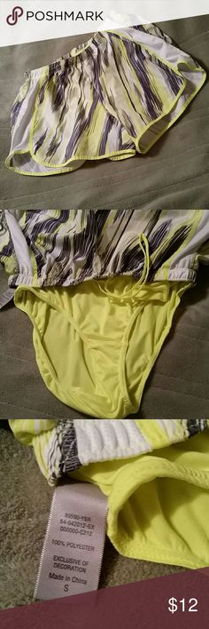 FLASH SALE NWOT SUPER CUTE SHORTS These cute shorts are in excellent condition never been wore.  Neon yellow,  gray and white . Built in panties. Champion Shorts
