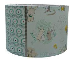 Kinderlamp Mint & Groen Oh Joy, lieve konijntjes en bloemen