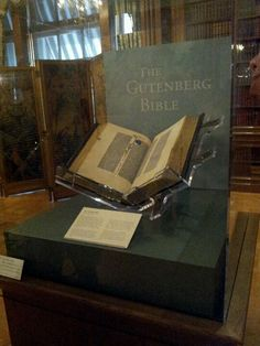 The Gutenberg Bible at the Huntington, YES! I finally got to see one. Been to Germany, it was a national holiday so museum closed, been to library in New York, closed to the public. Published on Velum between 1452 & 1455. 40 years before Columbus discovered America!!!!!