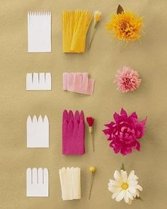 Jolies fleurs en papier crépon A small activity sheet to easily make flowers crepe paper or tissue paper. Use the … Paper Flowers Craft, Flower Crafts, Diy Flowers, Fabric Flowers, Real Flowers, Crepe Paper Decorations, Wedding Flowers, Flower Paper, Paper Flowers How To Make