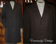 Vintage HARRIS TWEED Wool Overcoat Topcoat by VoraciouslyVintage