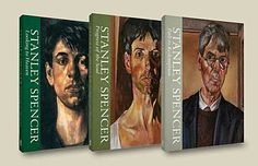 a photo of three books featuring portraits of Stanley Spencer at different stages of his life
