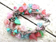 Flowers. Silver, pink, teal, turquoise, stone, glass, Lucite jewelry | mckeejewelrydesigns - Jewelry on ArtFire