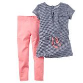With a soft printed top over neon leggings, this cute outfit combines style with ease in one convenient 2-piece set.