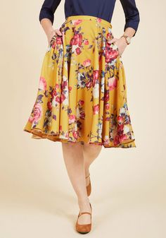 Shape, line, and form unfold fashionably as you drift past delicate flower displays in this smooth, mustard A-line skirt - a ModCloth exclusive! Printed with an array of mint, violet, and magenta flowers, and updated with the hidden pockets we know you love, this high-waisted skirt is truly worth treasuring - just like the perfected works you pass!
