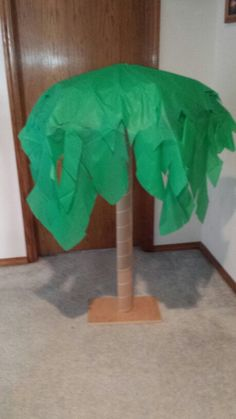 Palm Tree From Cardboard Tube, Plastic Tablecloth And Umbrella.