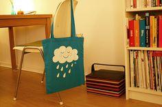 Jutebeutel - Wolkentasche Hellblau - ein Designerstück von Tante_Tin bei DaWanda