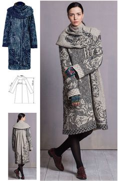 IVKO Woman`s Cape Collar Coat Style  52732 ANTHRACITE 018 and MARINE BLUE 039