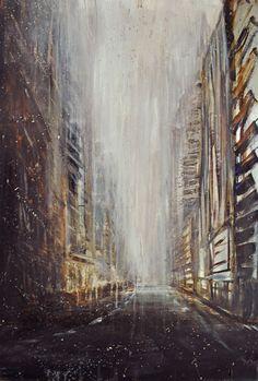"Max Dunlop, ""City Vortex II,"" Oil on aluminum, 24 X Paintings, Oil, Artists, Abstract, Gallery, Artwork, Art Work, Work Of Art, Paint"