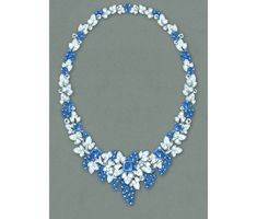 Drawing of Graff Diamonds' diamond and sapphire necklace  which will be exhibited in Monaco