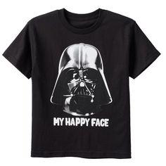 Boys 8-20 Star Wars Darth Vader Happy Face Tee, Boy's, Size: Medium, Black