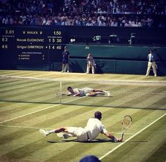 #TennisChannel analyst Rennae Stubbs' favorite photo from #Wimbledon. Grigor Dimitrov and Novak Djokovic battling it out during the 2014 semis.