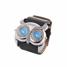 Creazy Leather Rhinestone Owl Double Dual Dial 30m Waterproof Sport Watch Black >>> Read more reviews of the product by visiting the link on the image.Note:It is affiliate link to Amazon. #WomensWatches