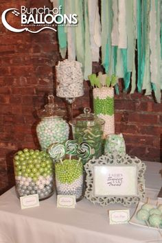 Mint Green & Ivory Baby Shower Dessert Table