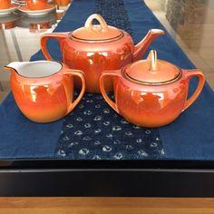 Orange Luster Ware Mid Century Sugar Bowl, Bowl Set, Luster, Mid Century, Orange, Chic, Antiques, Vintage, Shabby Chic