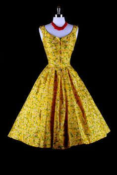 50s yellow floral
