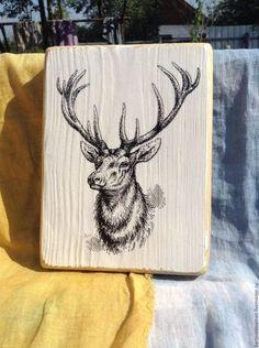 Wooden interior panel /Животные ручной работы. Ярмарка Мастеров - ручная работа. Купить Гордый олень.. Handmade. Чёрно-белый, оленьи рога, декупа