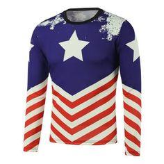 Pentagram American Flag Printed Long Sleeve Sweatshirt