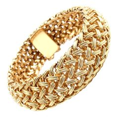TIFFANY & CO Wide Woven Braided Yellow Gold Bracelet | 1stdibs.com